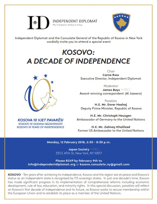 I look forward to speaking later today in NYC at a conference commemorating #Kosovo Independence.  @HashimThaciRKS