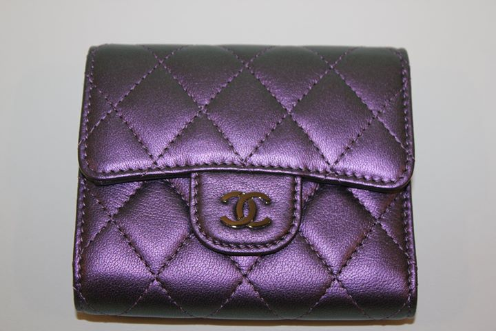 47aa21baa52204 Only one beautiful Chanel Small Wallet available (sold out in store) Purple  Iridescent Leather #Chanel #Chanelwallet #fashionista ...