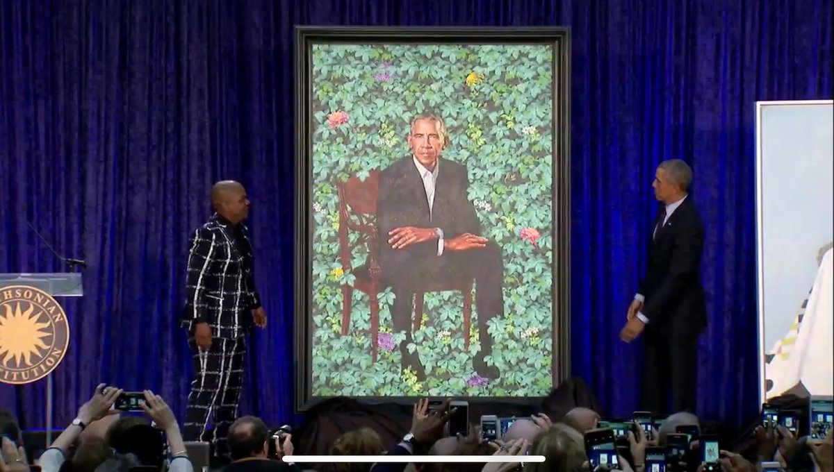 Monday morning joy as portraits of President and First Lady Obama are revealed by artists Amy Sherald and Kehinde Wiley. Reminds me to hope. #ObamaPortraits