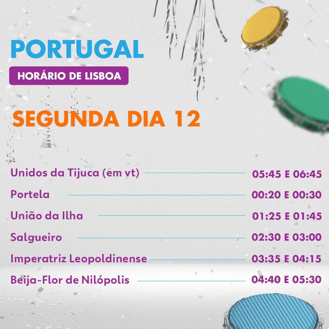 Confira os horários dos desfiles do Grupo Especial na Sapucaí! #carnaval2018 #Globeleza2018 #Portugal