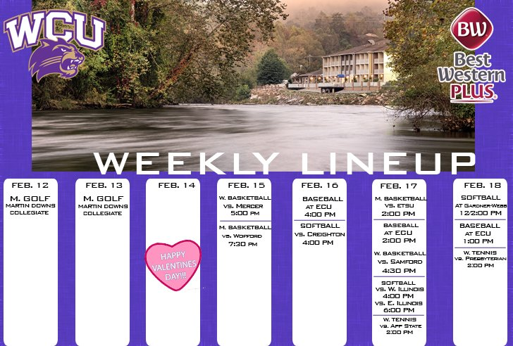 WCU Athletics Weekly Lineup (thru 2-11-18)