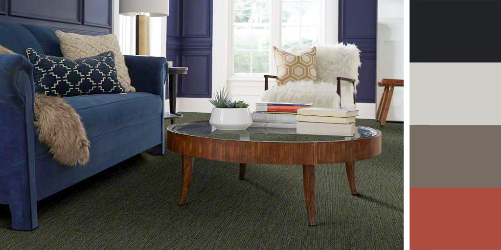 Cool color palettes look great against our looped Fangorn carpet, but don't be afraid to mix it up with a pop of red!  #Staatsburg #StaatsburgNY