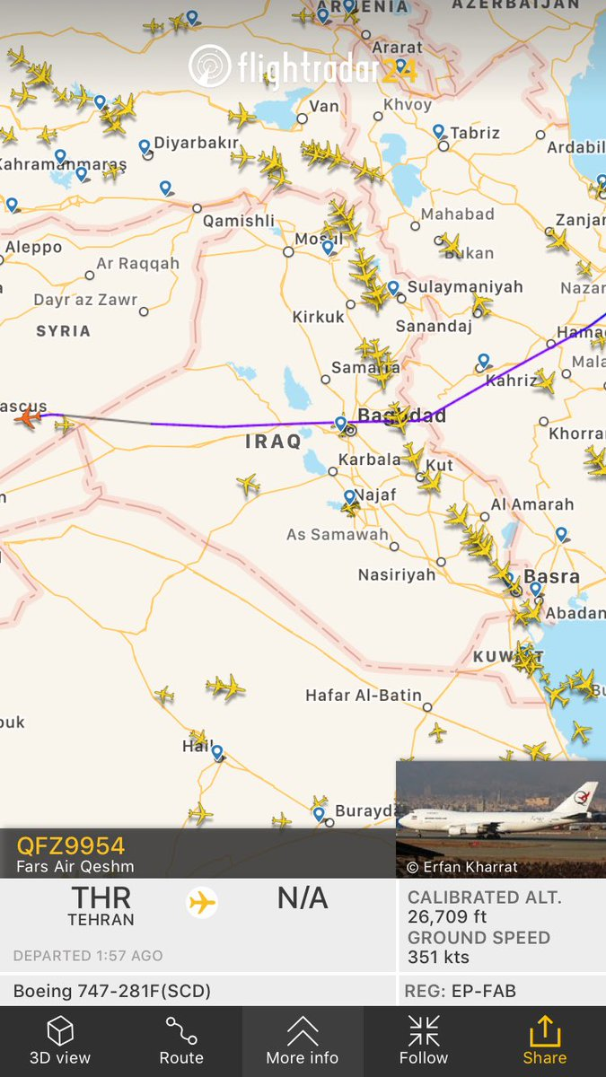 Who needs s land bridge when you've got an air corridor? Qeshm Fars B747 is landing in Damascus. #IRGC airlift to resupply #Assad & #Hezbollah continues. Nothing done to stop it since July 2015.