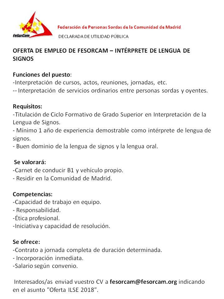 FESORCAM busca Interprete de Lengua de Signos - Madrid DV2xi-VXUAIAY8z