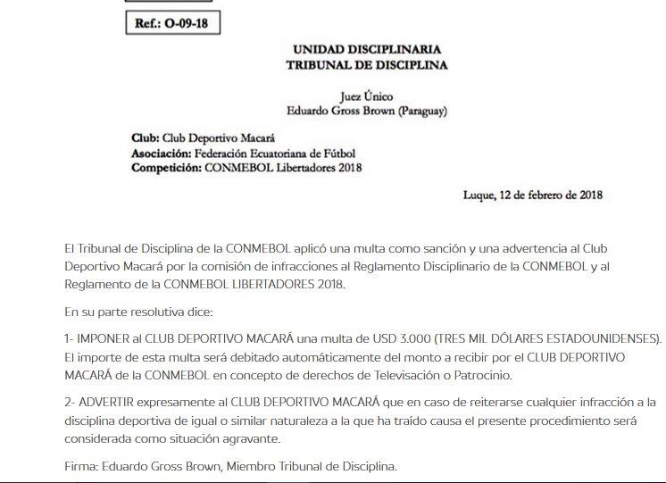 Resolución de la Unidad Disciplinaria de CONMEBOL multando a Macará