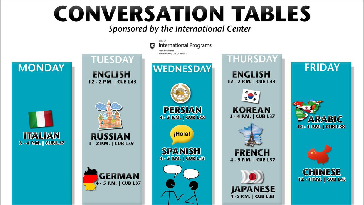 Italian Conversation Tables! Keep Track Of When All The Conversation Tables  Are Throughout The Week :) #ConversationTables #ForLangWSU #GoCougs ...