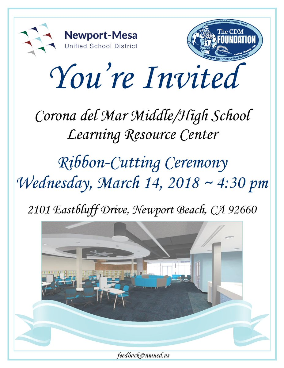 Newport Mesa USD On Twitter Youre Invited Corona Del Mar Middle High School Learning Resource Center Ribbon Cutting