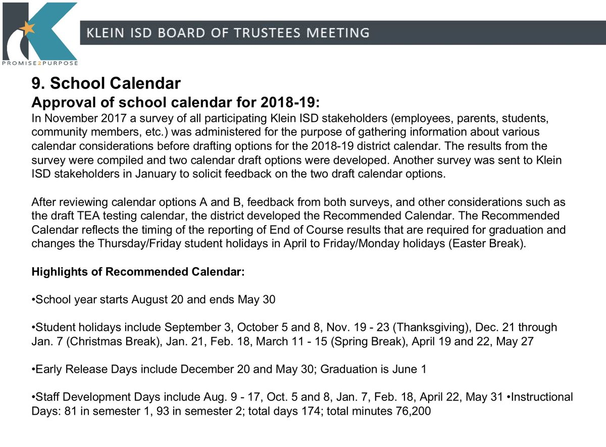 klein isd on twitter the 2018 19 school calendar was approved at the board meeting - When Does School Start Back After Christmas Break