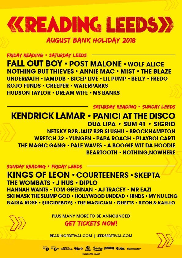COURTEENERS @OfficialRandL 2018 #RandL18 Tickets and info at the following link readingandleedsfestival.com