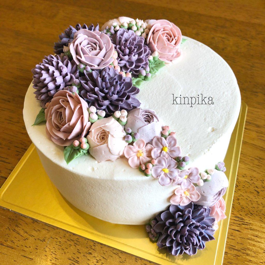 ダリアとバラのフラワーケーキ。 シックな紫とピンクで大人っぽく上品に。  #フラワーケーキ