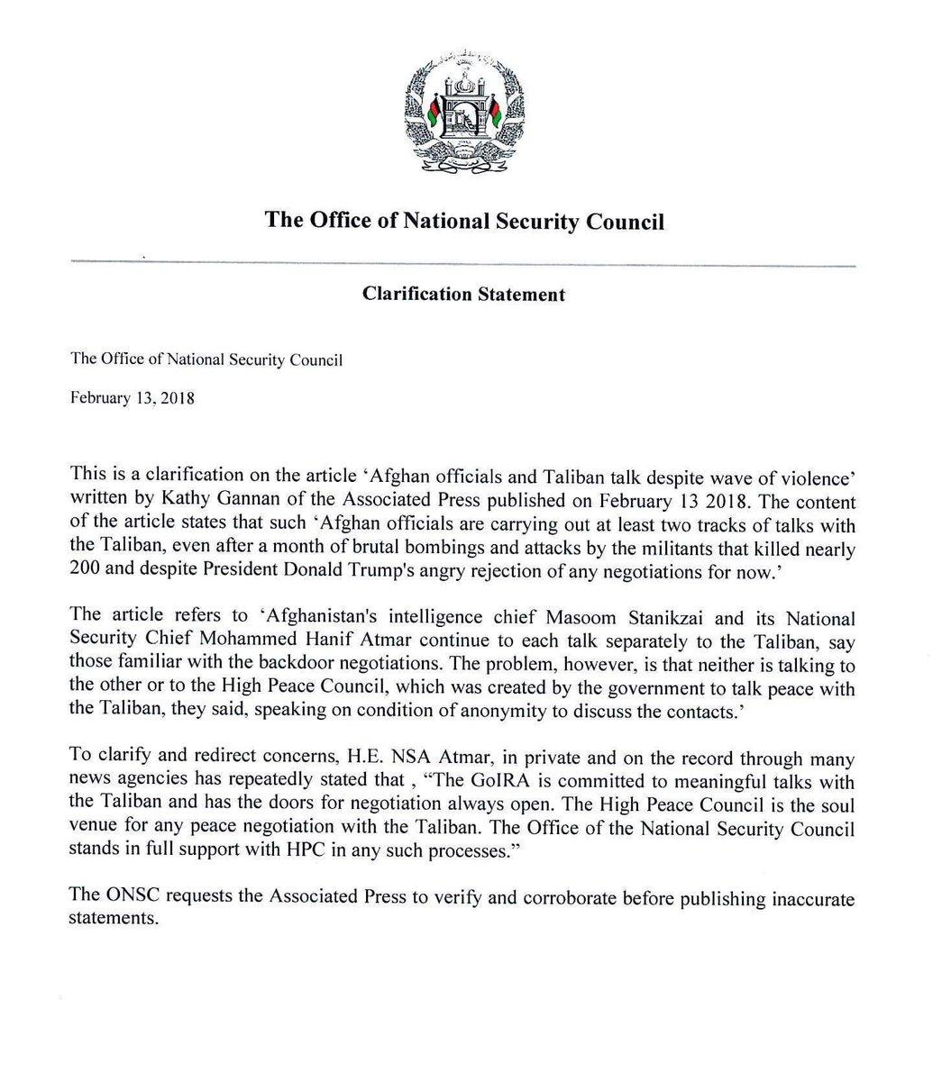Clarification Statement on Associated Press by Kathy Gannon #NSAATMAR #Clarification
