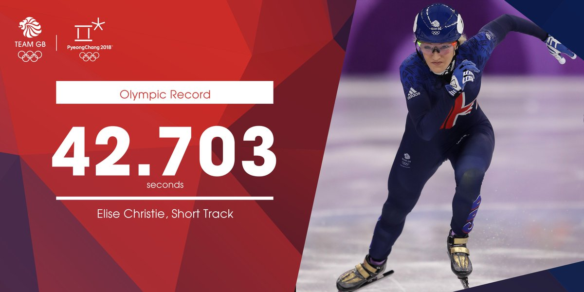 Shes getting faster and faster.. ⛸️ @Elise_Christie posts a new Olympic Record as she cruises through to the semi-finals in the fastest time. #WeAreTheGreat