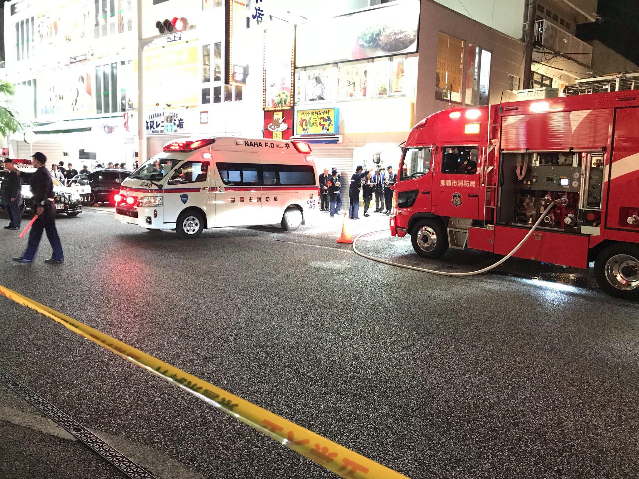 画像,那覇市国際通り近くで火災か?国際通り交通規制で、路線バスとタクシー、バイク以外は通行止めの模様 https://t.co/8n4ZRgSflC…