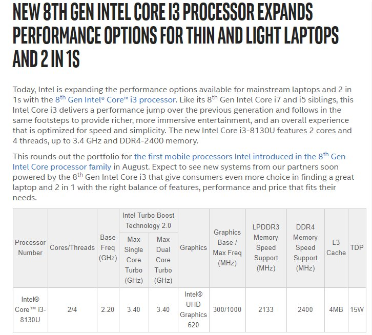 Instlatx64 On Twitter Intel Core I3 8130 Is Announced With 2 2