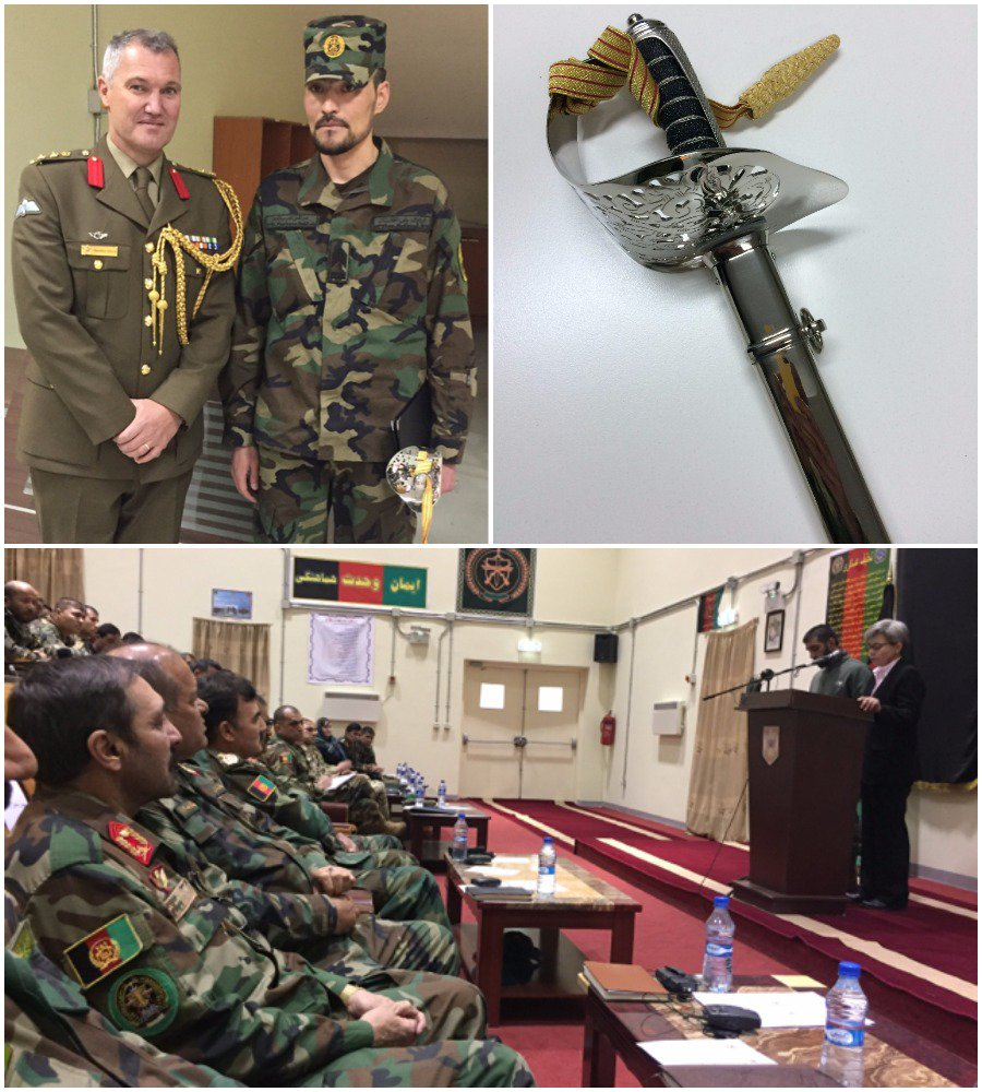 It was an honour to address the graduating class of the ANA Sergeant Major Academy with the Deputy Chief of General Staff, LTGen Hamid @MoDAfghanistan. #Australia presented the inaugural Kokoda Sword of Honour to the best student. A proud day for Afghan/Australia relations.