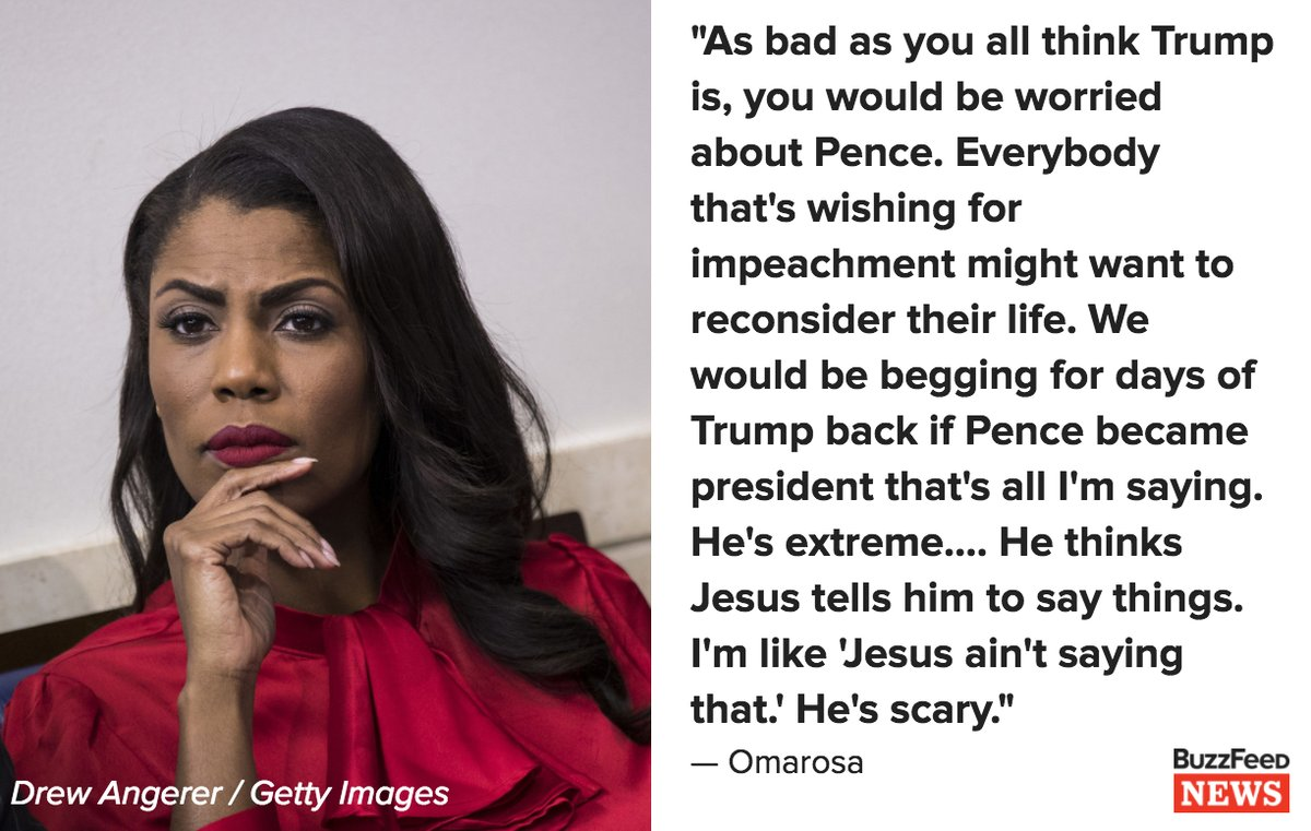Omarosa called Vice President Mike Pence 'scary' and said he thinks Jesus tells him to say things https://t.co/wWp6IxhOIr