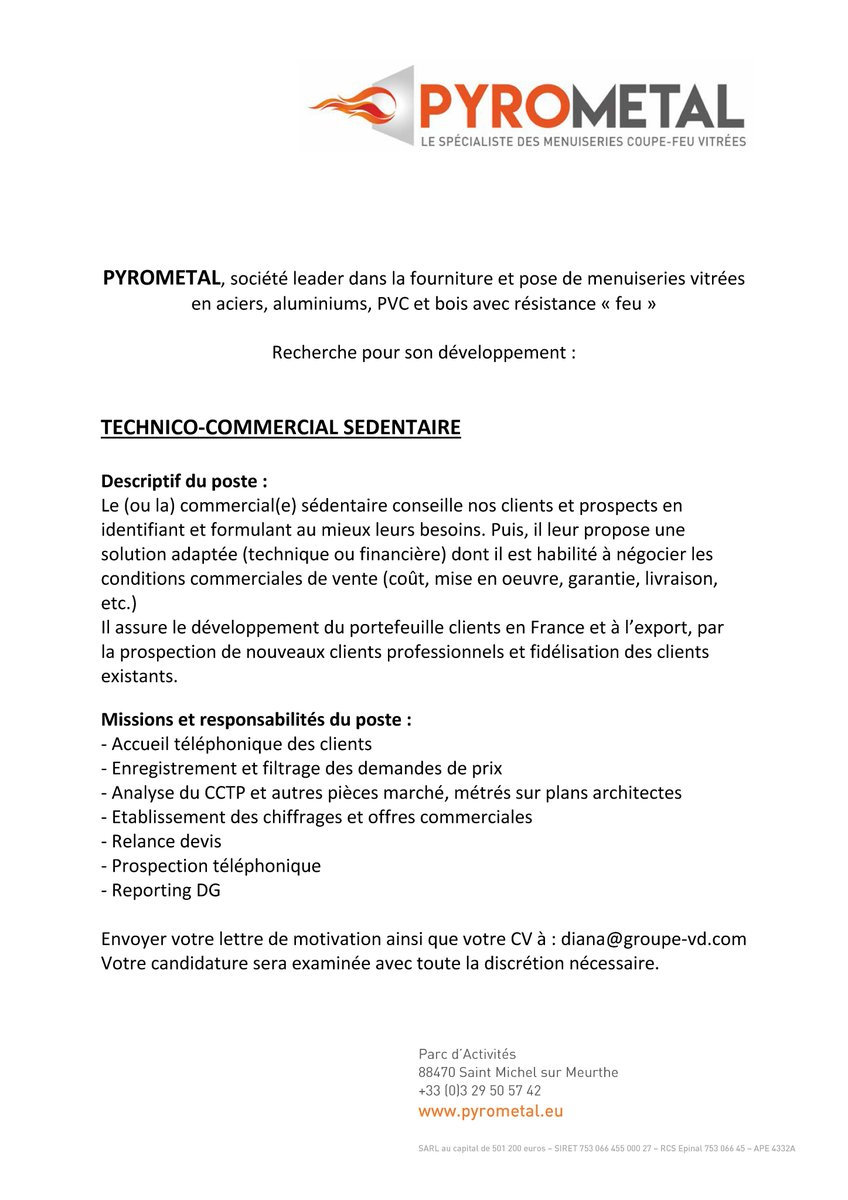 Pyrometal On Twitter L Equipe Pyrometal Recrute Egalement