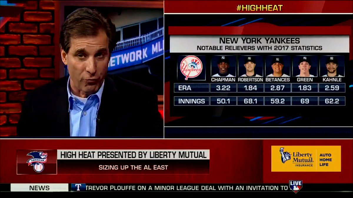 """""""There's no way you can't think that the #Yankees are the team to beat in the American League."""" - @MadDogUnleashed  It's World Series or bust in The Bronx. #HighHeat"""