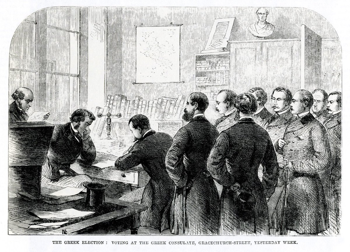 """ArcGreek on Twitter: """"1862. Greeks of #London voting at the #Greek  consulate. 2018. Greeks abroad pay taxes, though not allowed to vote. # Greece #election #politics https://t.co/lCSYzUmkZl… https://t.co/qBf8gGwgEq"""""""
