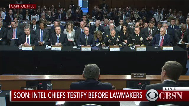 WATCH LIVE: Intel chiefs Christopher Wray, Mike Pompeo, Dan Coats testify before lawmakers on worldwide threats https://t.co/Q7sBd7ZFHH