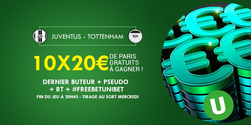 ⚽️💰 Qui sera le dernier buteur de #JUVTOT ? 10x20€ de #FreeBetUnibet à gagner ! #TeamParieur