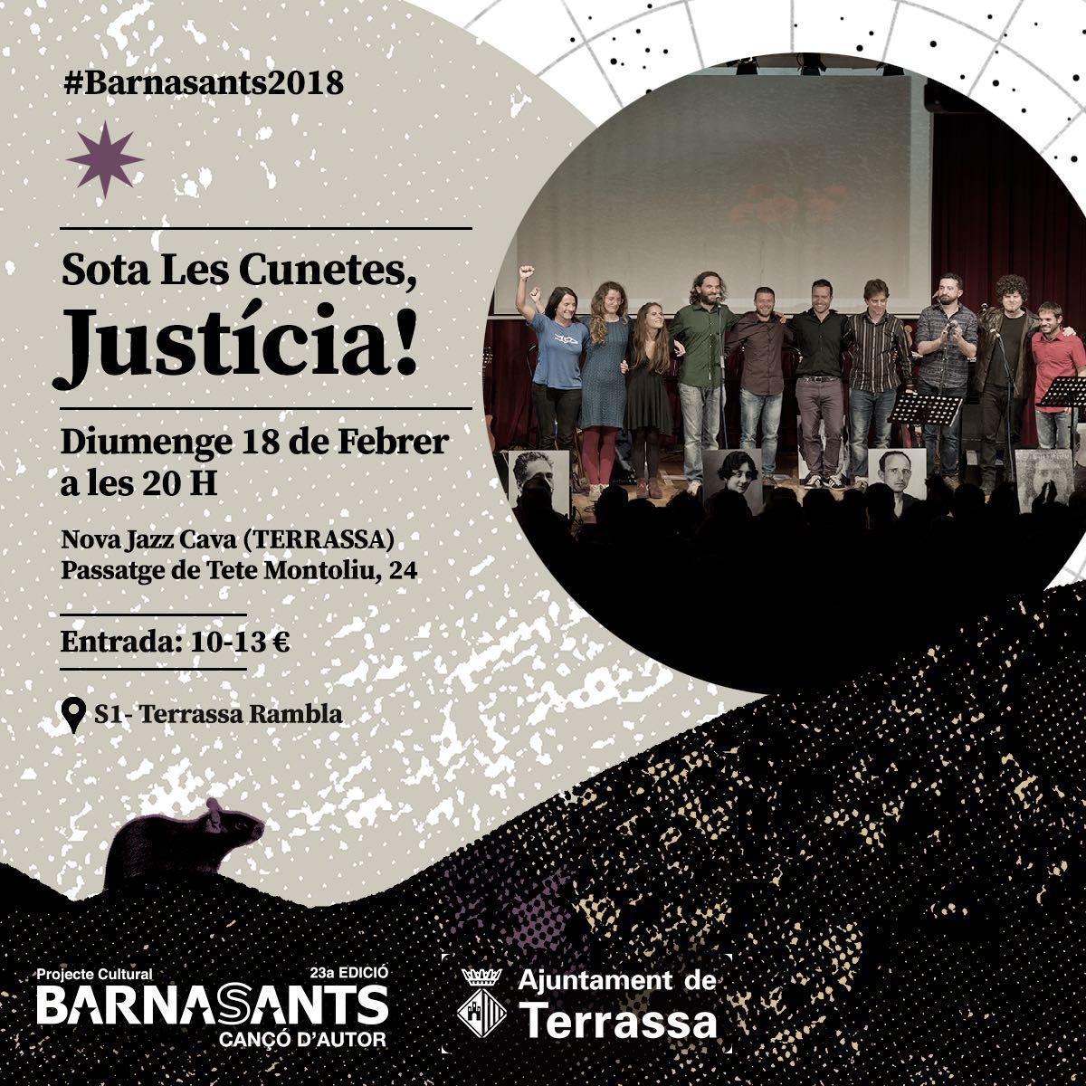 Aquest Dijous a la Nova Jazz Cava de Terrassa les noves veus de la cançó, buscaran la Justícia Sota de les Cunetes, amb la banda sonora d'una llarga i dolorosa etapa de la nostra història recent...