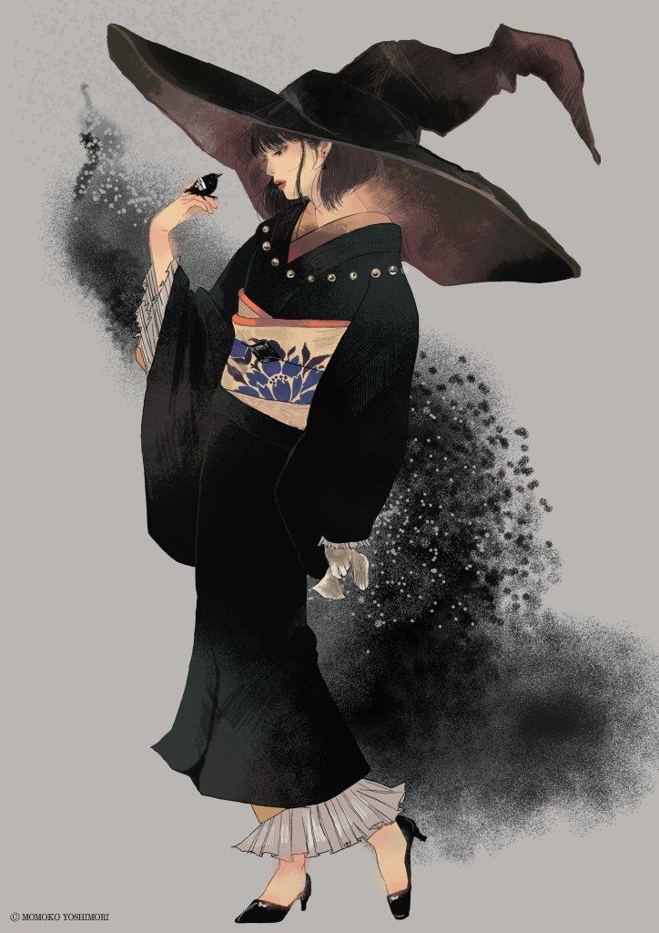 #魔女集会で会いましょう  ケガをした雛鴉を拾ったら立派に育ちました。 無口な和服魔女様と魔女様大好きすぎる大鴉