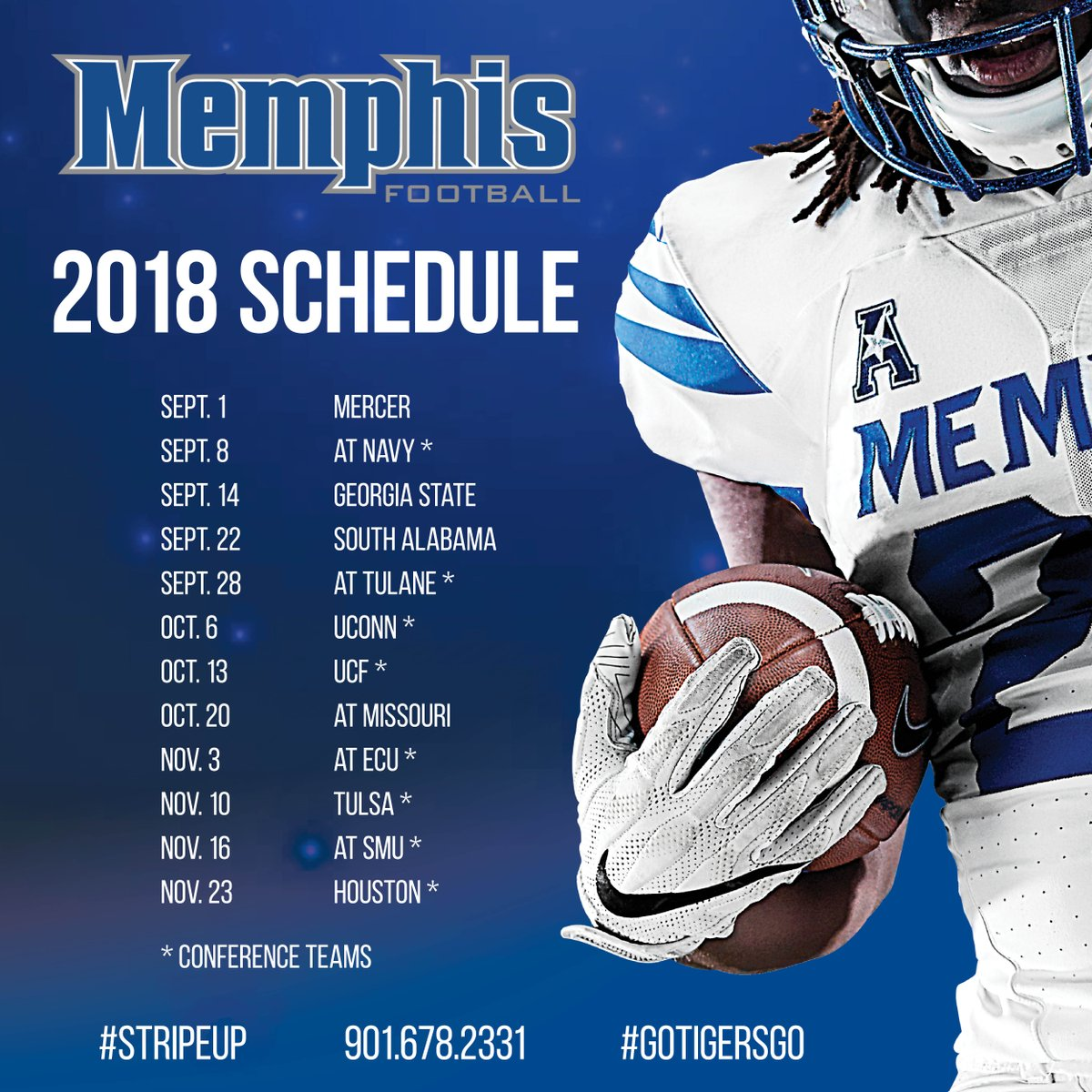 "memphis tigers on twitter: ""tiger football announces its 2018"