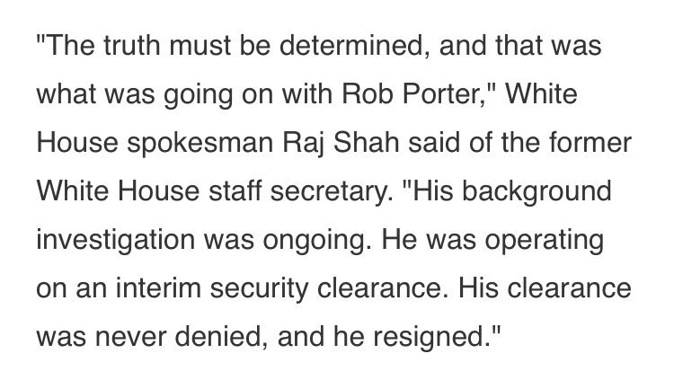 """Wray just contradicted WH timeline on Porter saying FBI """"completed background investigation in late July."""" WH spox Shah said last week background investigation was """"ongoing."""""""