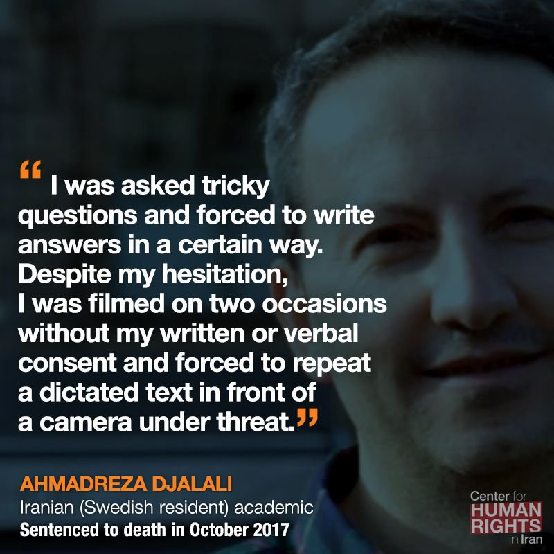 With so much going on in Iran, its easy to forget that Iranian-born Swedish resident and academic Ahmadreza Djalali has been sentenced to death based on a forced confession. buff.ly/2EjRHbd #FreeAhmadReza
