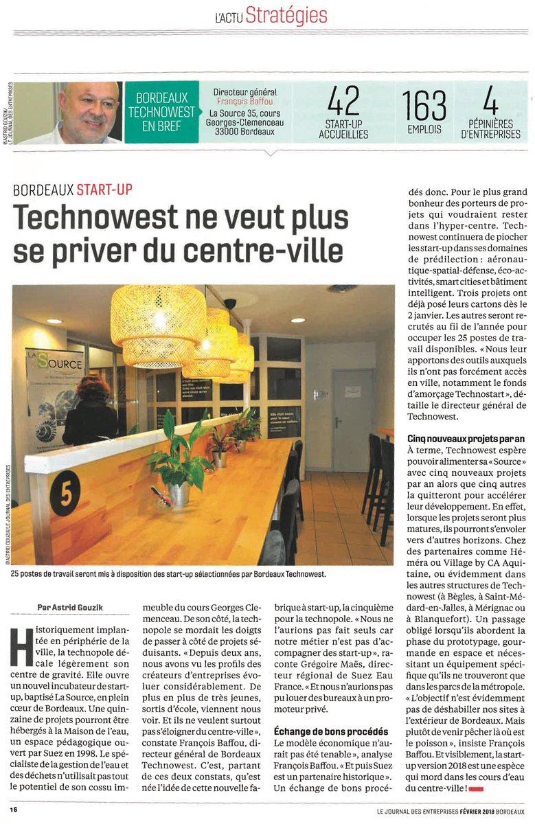 On parle de #LaSource, notre incubateur de #Bordeaux, dans le @JEntreprises ! 👍 Avis aux porteurs de projets innovants et #startup intéressés, l'inscription c'est par ici : https://t.co/aEAnGFjJYv