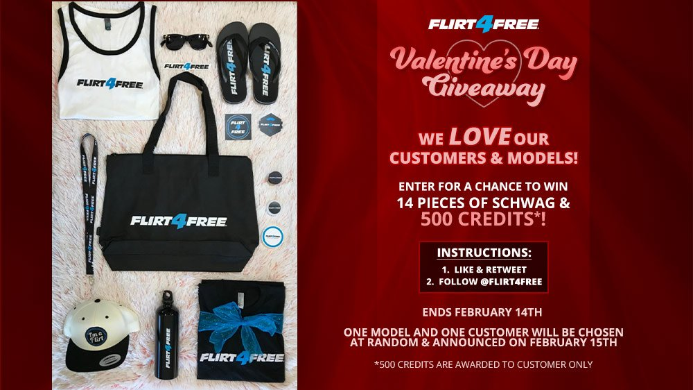 Love is in the air and we want to gift you with #Flirt4Free wear! Enter for a chance to win 14 pieces of our schwag and 500 credits! Make sure to to follow us as well as like & retweet this for a chance to win! #ValentinesDay #F4FValentines