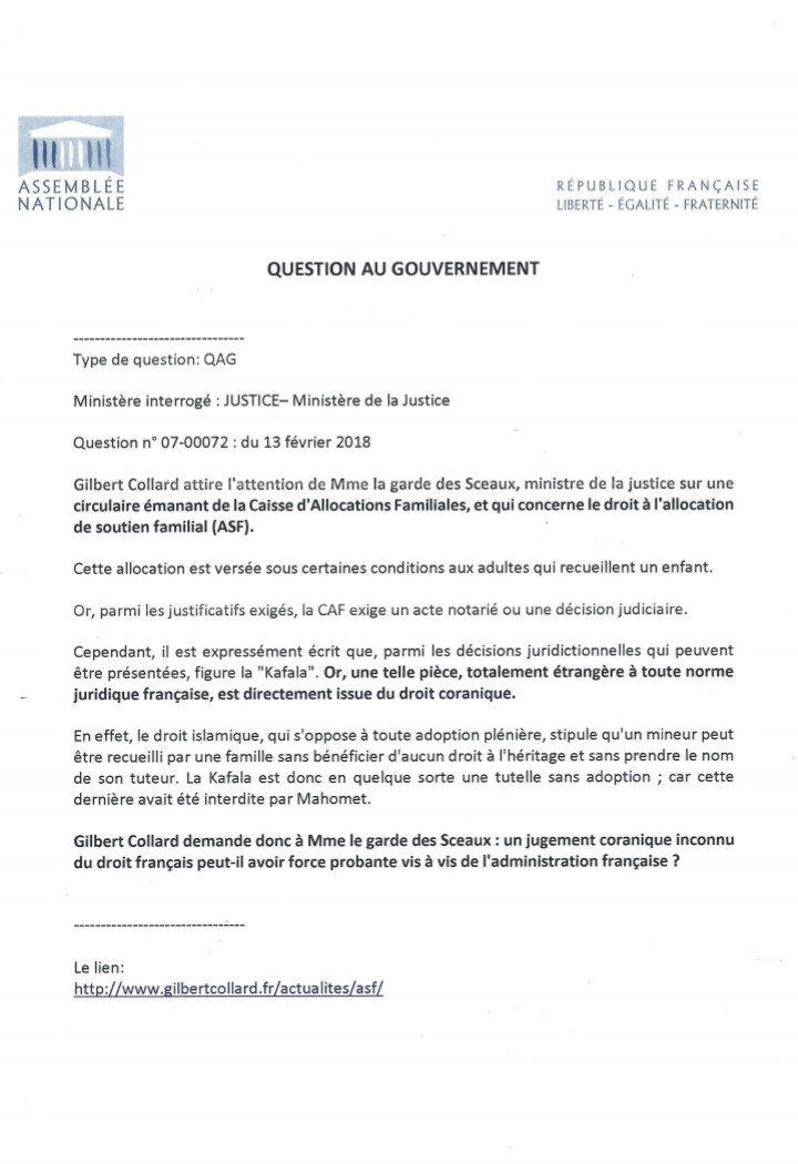 Gilbert Collard On Twitter Quand La Caf Se Soumet Au Droit