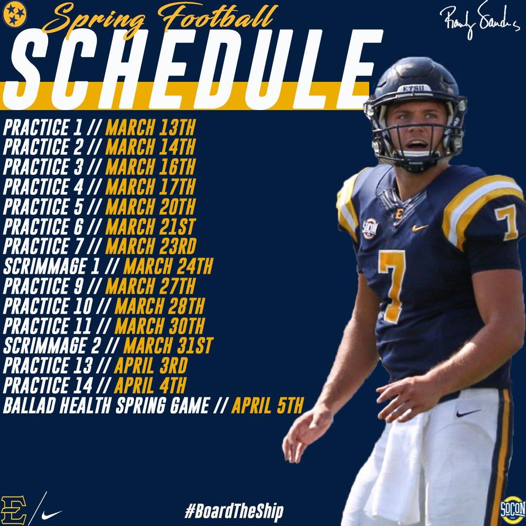 "etsu football on twitter: ""etsu football spring schedule #etsutough"