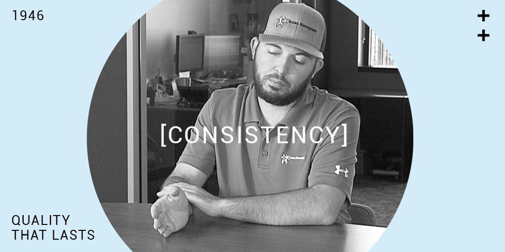 Consistency... It&#39;s Important. It brings quality that lasts.  #Quality #Established1946 #QualityThatLasts #Consistency #1946 #OurNameplatesAreGreen #GreenCompany #SmallBusiness #BigIdeas #MadeInUSA #TexasNameplateCompany #GoingGreen<br>http://pic.twitter.com/wavdmCvAtJ