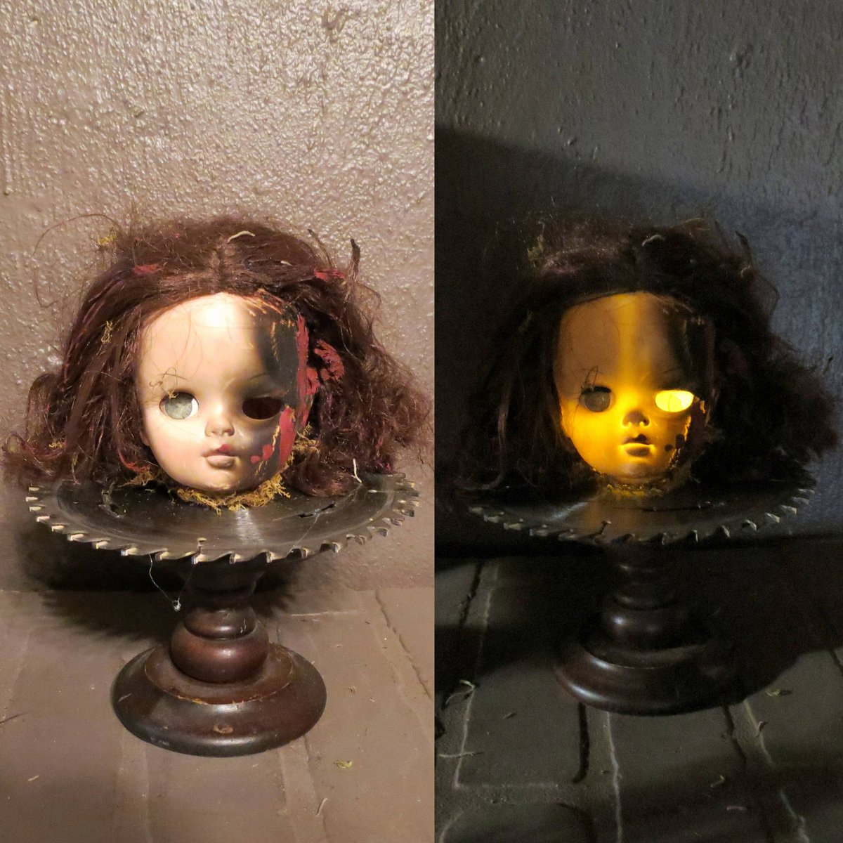 ... Creepy Doll Head Light Up Halloween Decoration, Battery Operated  Repurposed Doll, Haunted House Decor, Scary Doll, Night Light, Haunted Doll  ...