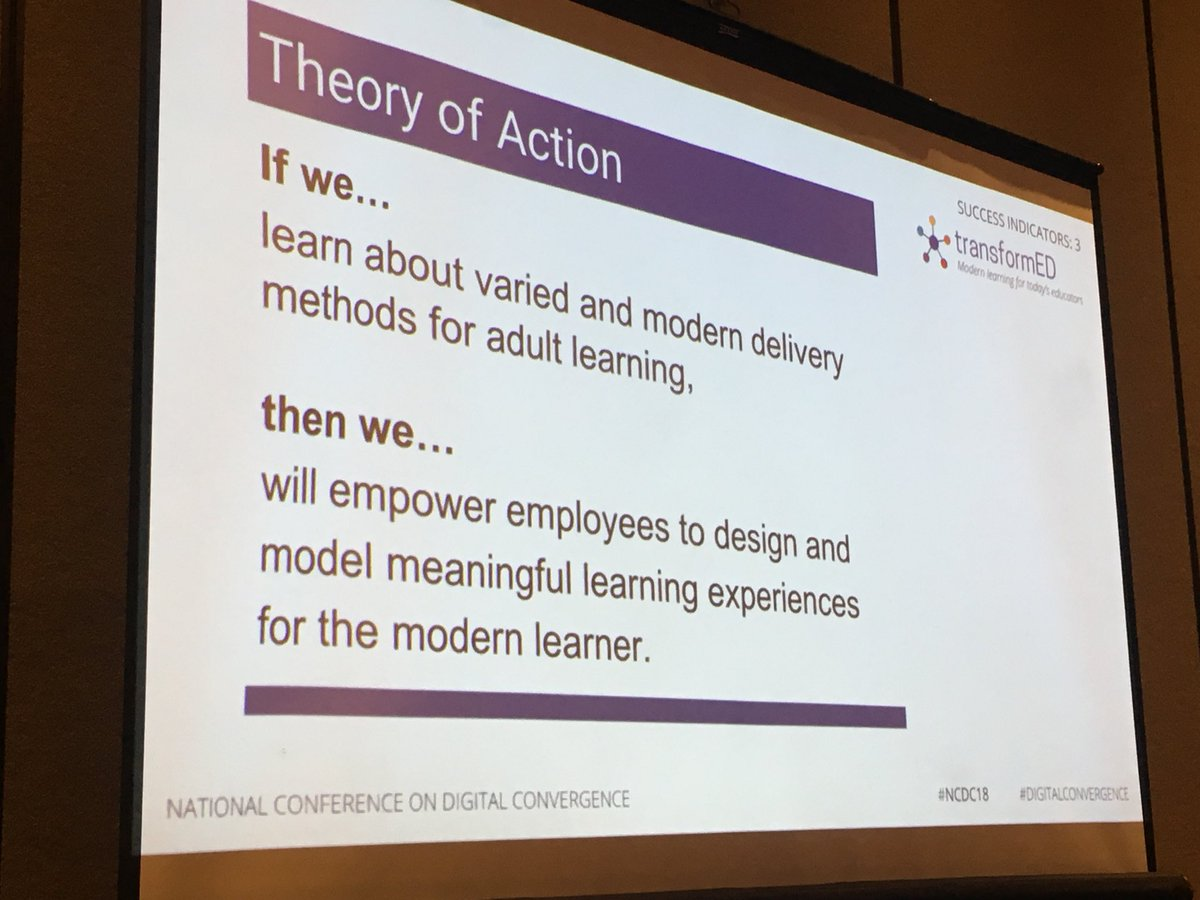 If we learn about varied and modern delivery method for adults, we can empower Ts to create meaningful learning experiences for Ss #DigitalConvergence #ncdc18 @CajonValleyUSD<br>http://pic.twitter.com/N9wyb4XZtv
