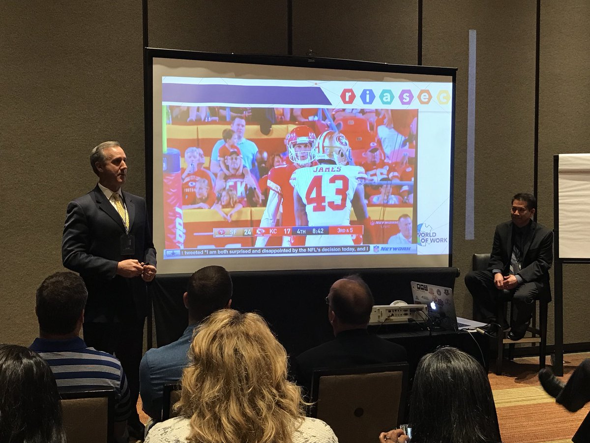 Our very own @davidmiyashiro @oterotamara @EdHidalgoSD and Jim Miller presenting about the World of Work at the National  Council on Digital Convergence. #ncdc18 <br>http://pic.twitter.com/gNaODpivve