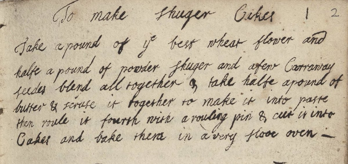 Happy #pancakeday2018 ! Here is a late 17th century recipe for &quot;shuger cakes&quot; from our collection. Explore more of our image collection at  http:// luna.folger.edu / &nbsp;  <br>http://pic.twitter.com/WFKIB7e2ig