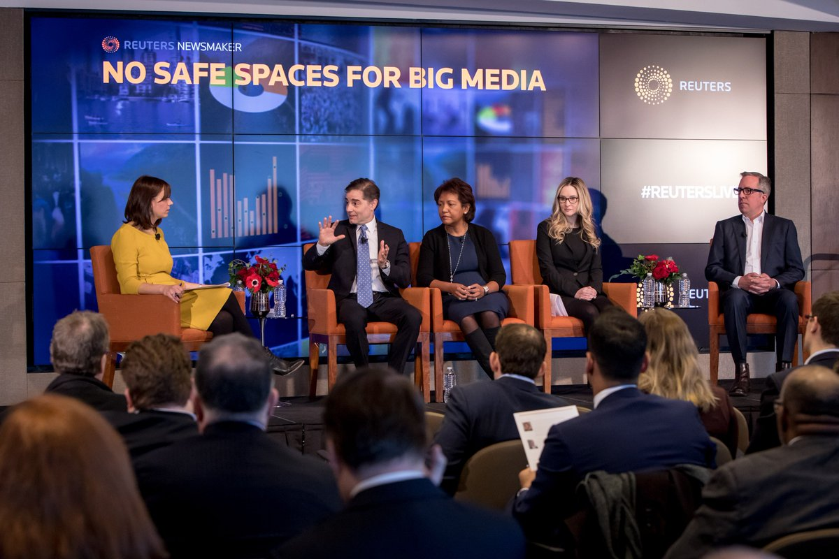 """""""The amazing Internet-related innovation over the last decade is now fueling M&amp;A in multiple categories. A key question is whether M&amp;A will drive even more innovation, or dampen it,"""" @OneCarlyle Julius Genachowski @ #ReutersLive Newsmaker event """"No Safe Spaces for Big Media"""" 1/3 <br>http://pic.twitter.com/kfNFmMMXHx"""