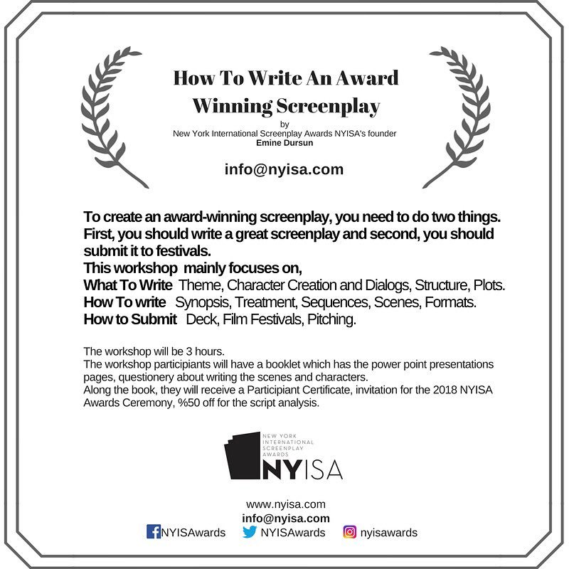 nyisa on twitter how to write an award winning screenplay