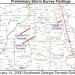 Time for #Tornado #History - Late Feb 13 into early Feb 14, 2000, 3 devastating tornadoes struck portions of SW GA. There was a total of 19 fatalities, many in mobile homes. One of the hardest hit areas was #Camilla. Our detailed summary: https://t.co/DGOy0w2Kos #gawx #wxhistory