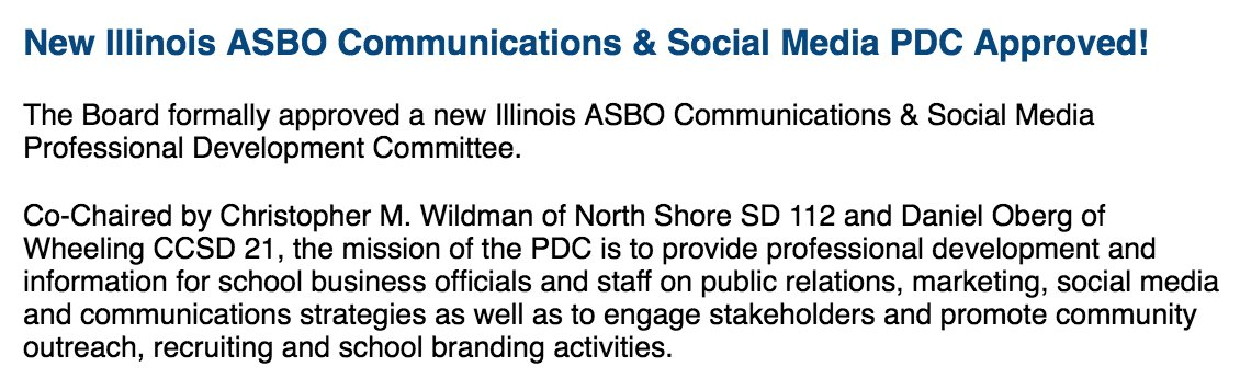 Congrats @CWildmanCPA and @danieleoberg on your selection to lead the new @IllinoisASBO communications and social media PDC! #nextgenerationsbo #tellingyourstory #edfinchatpic.twitter.com/LTyUrfjQGh