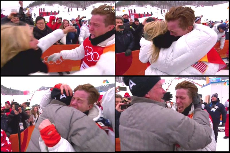 Shaun White celebrating with his parents...