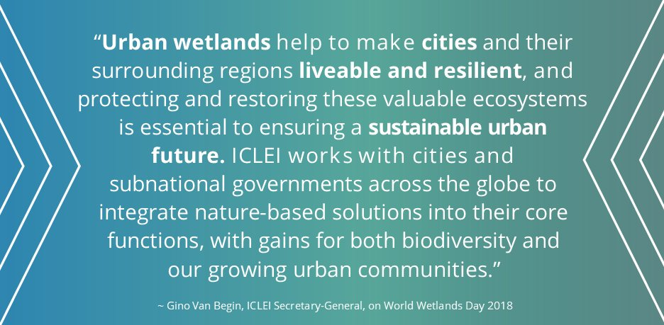 "It's #WorldWetlandsDay! #KeepUrbanWetlands  ""Urban #wetlands help to make #cities & their surrounding regions liveable & #resilient. Protecting & restoring these valuable ecosystems is essential to ensuring a #sustainable urban future."" - @ICLEI_SG   https://t.co/yWneFH2t1f"