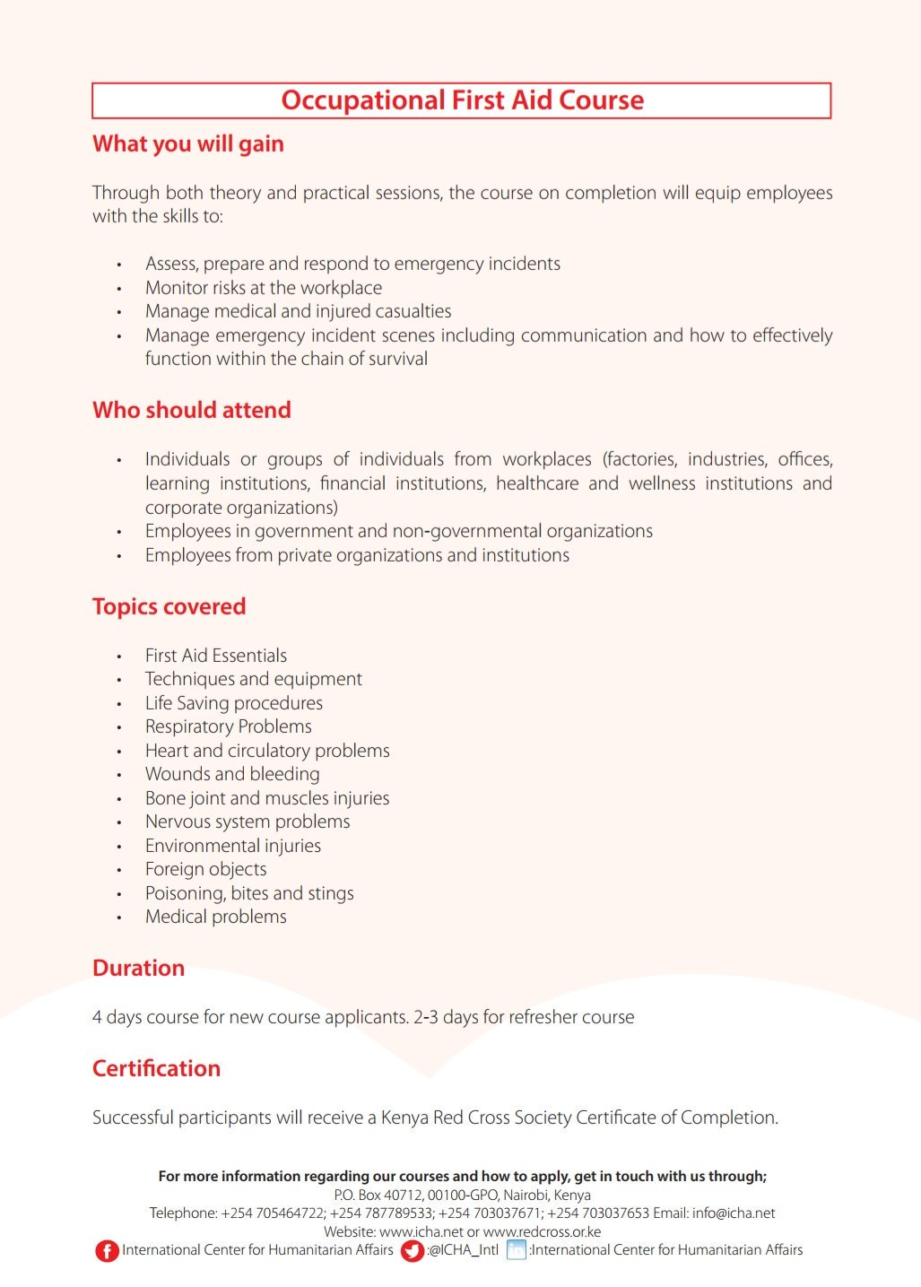 Kenya Red Cross On Twitter Occupational First Aid Course Available
