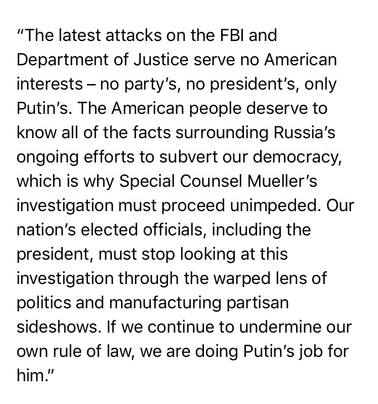 """McCain: """"The latest attacks on the FBI and Department of Justice serve no American interests – no party's, no president's, only Putin's.."""""""