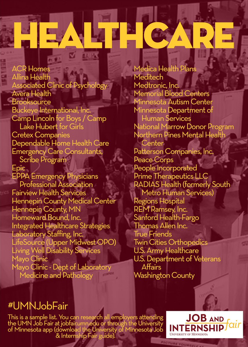 Umn Job Fair On Twitter Interested In Working In Healthcare Check