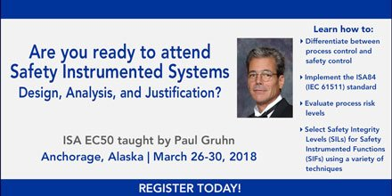 Aesolutions On Twitter Join Us For Our Safety Instrumented Systems Design Analysis Justification Ec50 Training Course This March In Anchorage Register Today At Https T Co Cryll46uc7 Isa Members Can Use Promo Member