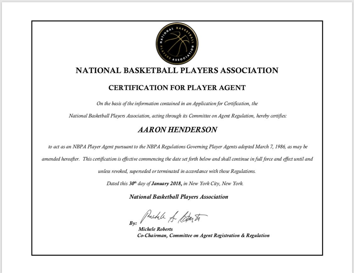 Aaron Henderson On Twitter Officially Certified By Thenbpa To